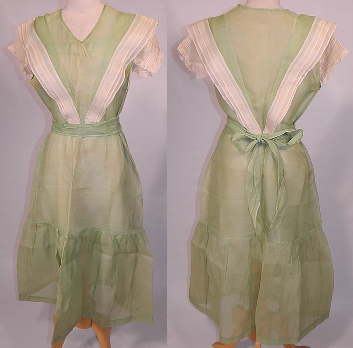 Vintage Mint Green Cotton Organdy Belted Dress & Chemise Teddy Slip. This vintage mint green cotton organdy belted dress and chemise teddy slip dates from the 1930s. It is made of a pastel mint green color sheer cotton organdy fabric, with white pleated trim over the shoulders and lace trim sleeve cuffs.