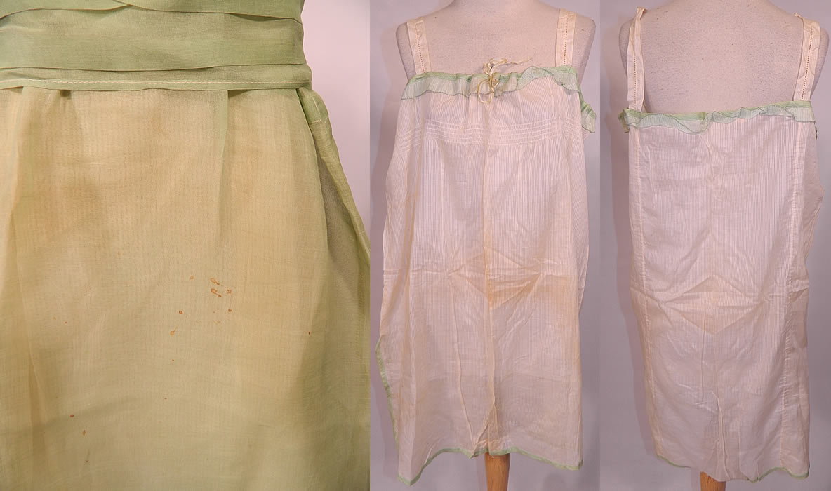 Vintage Mint Green Cotton Organdy Belted Dress & Chemise Teddy Slip. Included is an off white cream color windowpane striped cotton chemise teddy style slip lingerie, with a green ruffle trim drawstring neckline, shoulder straps and cotton crotch. The chemise teddy measures 28 inches long, with 44 inch hips, waist, bust and has a size 42 tag inside.