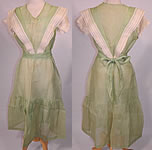 Vintage Mint Green Cotton Organdy Belted Dress & Chemise Teddy Slip