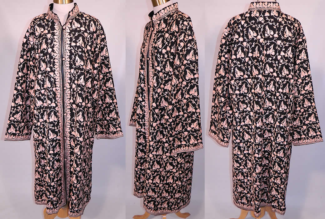 Vintage Black Wool Pink Chain Stitch Crewel Work Embroidery Ethnic Coat Jacket. This vintage black wool pink chain stitch crewel work embroidery ethnic coat jacket dates from the 1980s. It is made of a black fine soft merino wool, with pastel blush pink crewel work, chain stitch hand embroidered floral vine leaf designs.