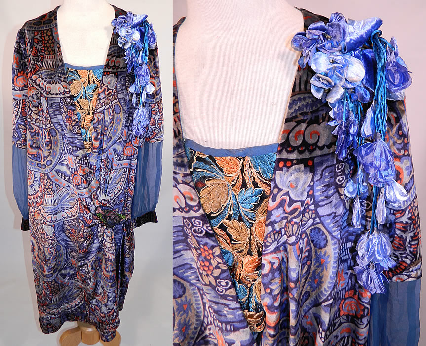Vintage Embellished Colorful Blue Floral Print Velvet Drop Waist Flapper Dress. This exquisite vintage embellished colorful blue floral print velvet drop waist flapper dress dates from the 1920s. It is made of a colorful, with shades of blue abstract floral print silk velvet fabric.