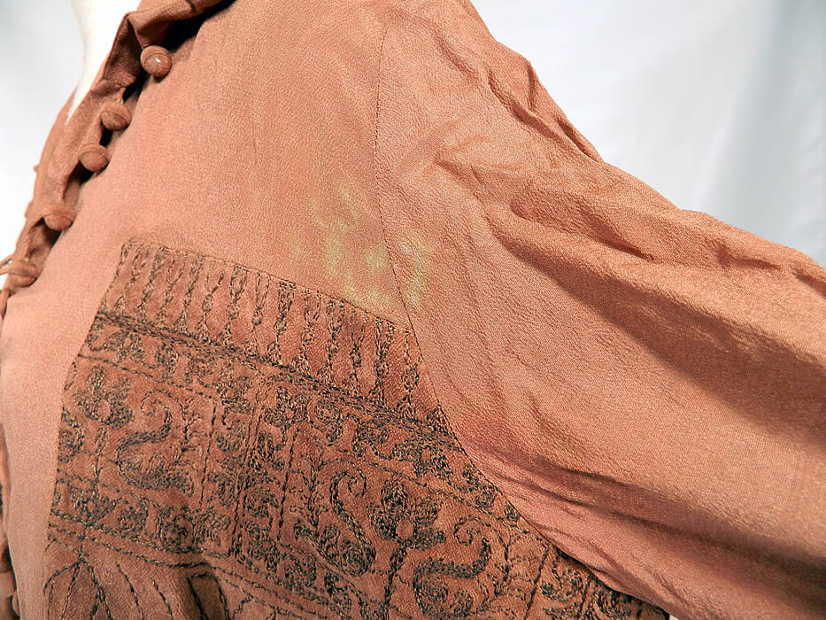 Vintage Art Deco Brown Silk Gold Metallic Embroidered Ethnic Flapper Blouse. It is in good condition, but is missing a couple of buttons, has not been cleaned and has a small discoloration stain on the sleeve under the arm (see close-up). This is truly a wonderful piece of wearable Art Deco textile art!