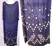 1920s Vintage Art Deco Navy Blue Sheer Silk Chiffon Beaded Polka Dot Flapper Dress