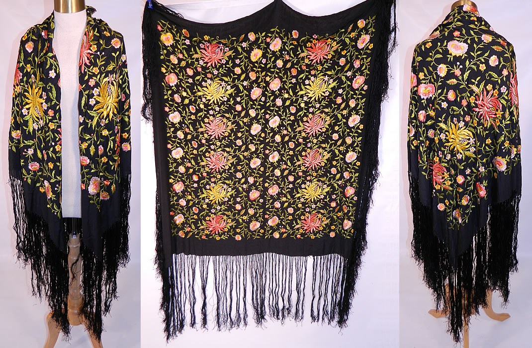 Vintage Black Silk Floral Embroidered Flapper Boho Piano Shawl Scarf. This vintage black silk floral embroidered flapper boho piano shawl scarf dates from the 1920s. It is made of a black silk fabric, with machine done embroidered colorful bright yellow, pink, lilac purple flowers and chartreuse green vine leaves throughout.