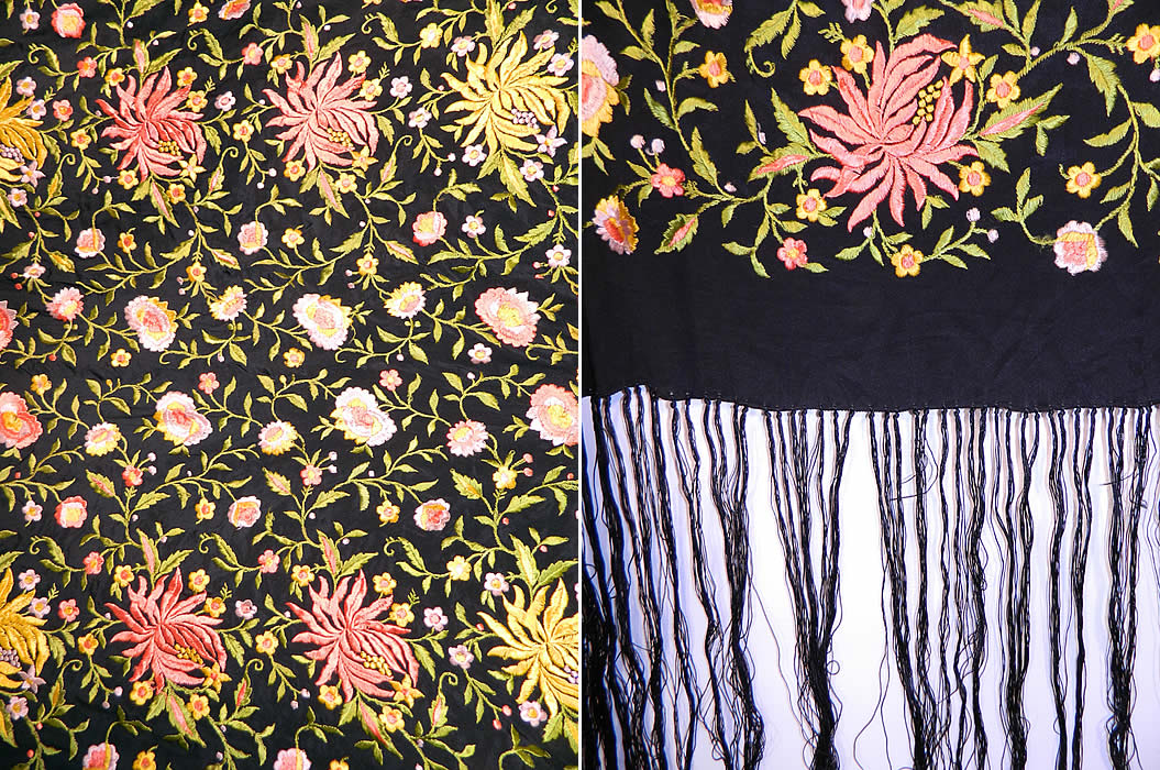 Vintage Black Silk Floral Embroidered Flapper Boho Piano Shawl Scarf. There is a black hand knotted silk fringe which measures 18 inches long surrounding the entire shawl.
