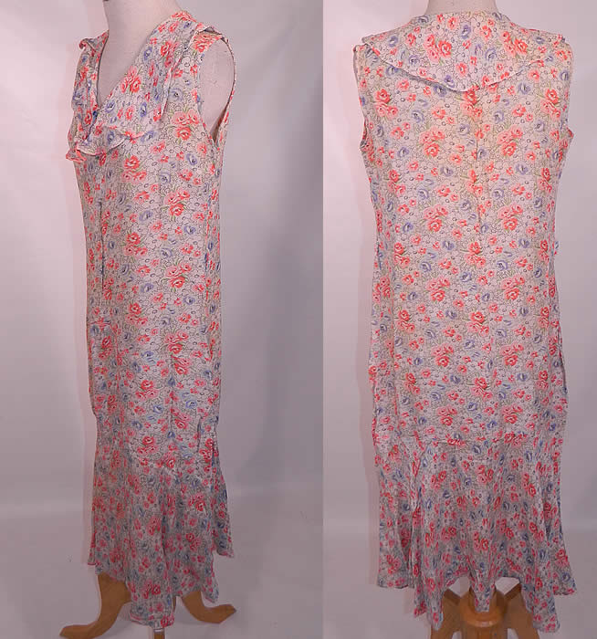Vintage Lady Letty Distinctive Frocks Floral Print Cotton Day Dress Shift. The dress measures 43 inches long, with 34 inch hips, a 34 inch waist and 34 inch bust. It is in good condition, but has not been cleaned and has some faint yellowing discoloration on the back top. This is a wonderful piece of wearable art!
