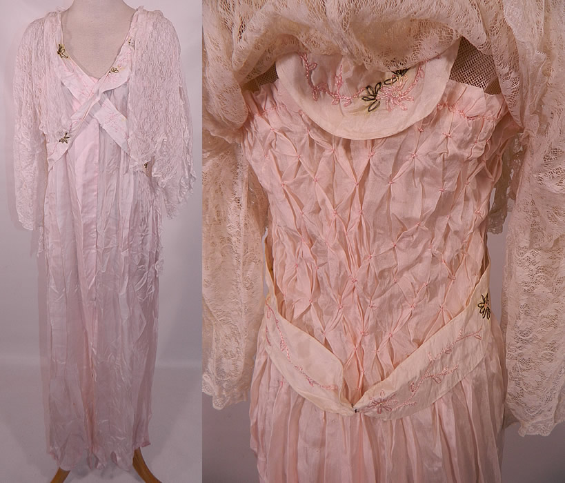 Edwardian Titanic Pink Silk Smocking White Lace Peignoir Negligee Nightgown Robe. This vintage Edwardian Titanic era pink silk smocking white lace peignoir negligee nightgown robe dates from 1912. It is made of a pale pastel pink fine silk fabric, with smocking detail on the back, daisy flower embroidered silk straps and a white lace overlay top.