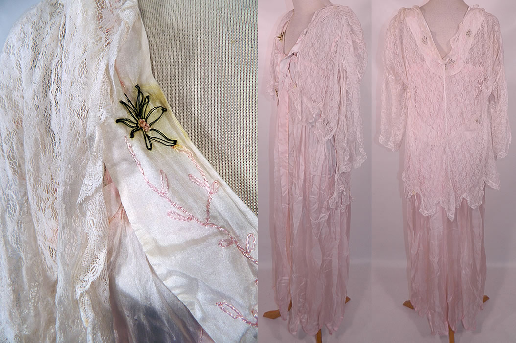 Edwardian Titanic Pink Silk Smocking White Lace Peignoir Negligee Nightgown Robe. The gown measures 56 inches long, with 44 inch hips, a 36 inch waist and 36 inch bust. It is in good condition, with only a few tiny pin holes and some faint discoloration staining on the silk ribbon trim straps (see close-up). This is truly a wonderful piece of fine quality romantic wearable lingerie art!