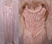 Edwardian Titanic Pink Silk Smocking White Lace Peignoir Negligee Nightgown Robe.