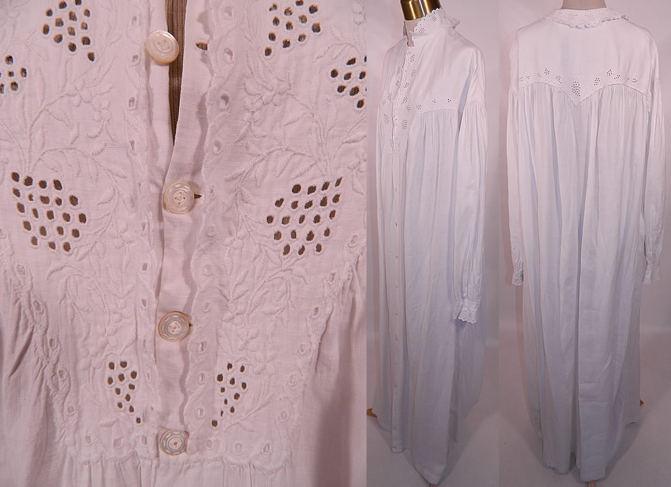 Victorian Broderie Anglaise Eyelet Embroidered Whitework Linen Nightgown Dress. This beautiful nightgown is loose fitting, a long floor length, with a high neck collar, long sleeves and small carved mother of pearl buttons all the way down the front for closure.