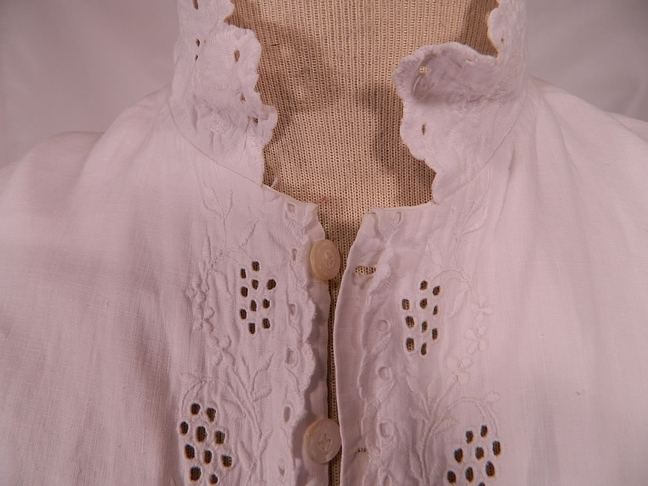 Victorian Broderie Anglaise Eyelet Embroidered Whitework Linen Nightgown Dress. The nightgown is a large size measuring 56 inches long, with 55 inch hips, a 55 inch waist, 50 inch bust, 20 inch back and 23 inch long sleeves.
