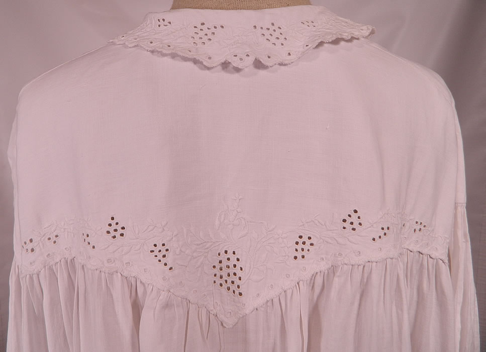 Victorian Broderie Anglaise Eyelet Embroidered Whitework Linen Nightgown Dress. It is in good condition, with only a tiny hole on the bottom hem of the front skirt. This is truly a wonderful piece of wearable Victoriana antique whitework!