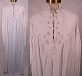 Victorian Broderie Anglaise Eyelet Embroidered Whitework Linen Nightgown Dress