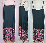 Vintage Green Silk Pink Sequin Beaded Floral Drop Waist Flapper Dress Slip