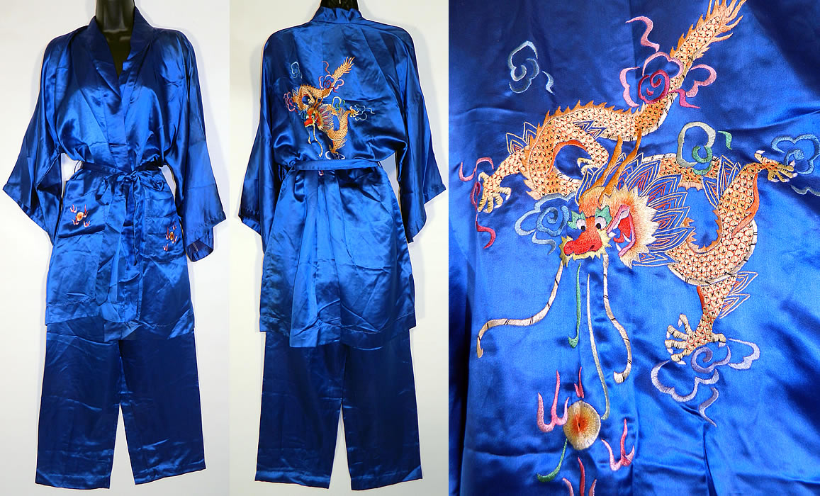 Vintage Peacock Blue Silk Hand Embroidered Chinese Dragon Pajamas Robe Pants