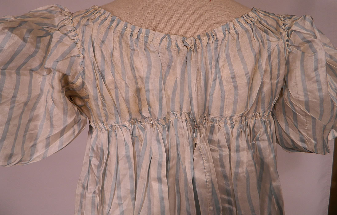Antique Georgian Regency Era Blue & White Stripe Silk Puff Sleeve Girls Dress