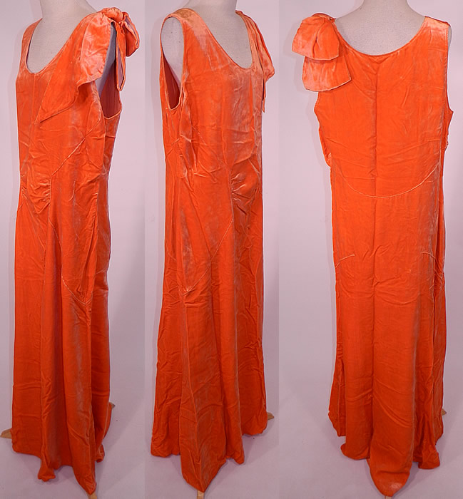 Vintage Orange Silk Velvet Bias Cut Evening Gown Dress