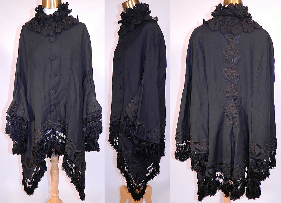 Victorian Black Wool Soutache Embroidered Winter Dolman Mantle Coat Cape