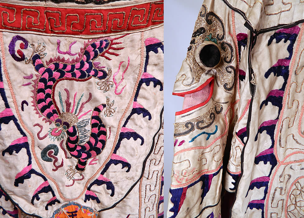 Antique Chinese Dragon Silk Embroidered Peking Opera Warrior Robe