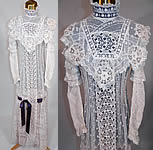 Edwardian Belle Epoque White Mixed Lace Purple Ribbon Skirt Wedding Gown Dress
