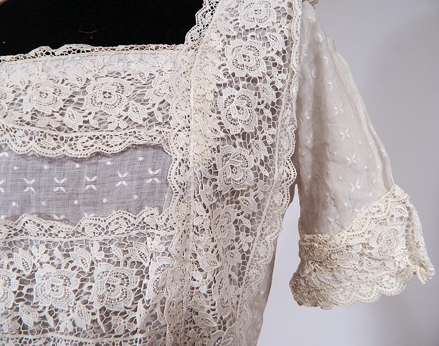 Vintage White Cotton Batiste Embroidered Polka Dot Lace Trim Dress