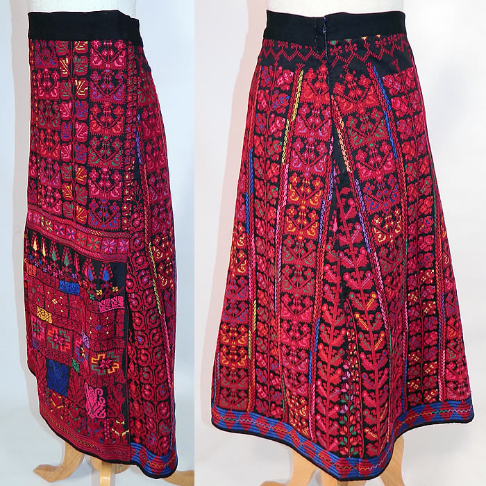 Vintage Colorful Cross Stitch Palestinian Hand Embroidery Ethnic Tribal Boho Skirt