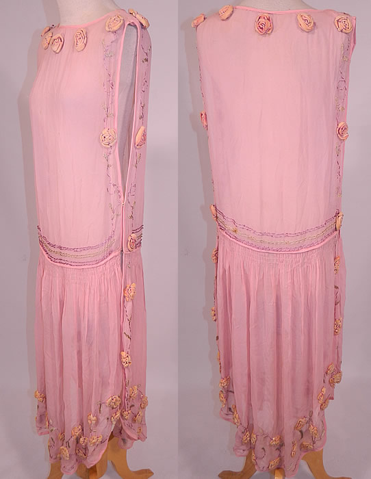 Vintage Pink Silk Chiffon Velvet Rosette Flower Trim Open Side Tunic Flapper Dress