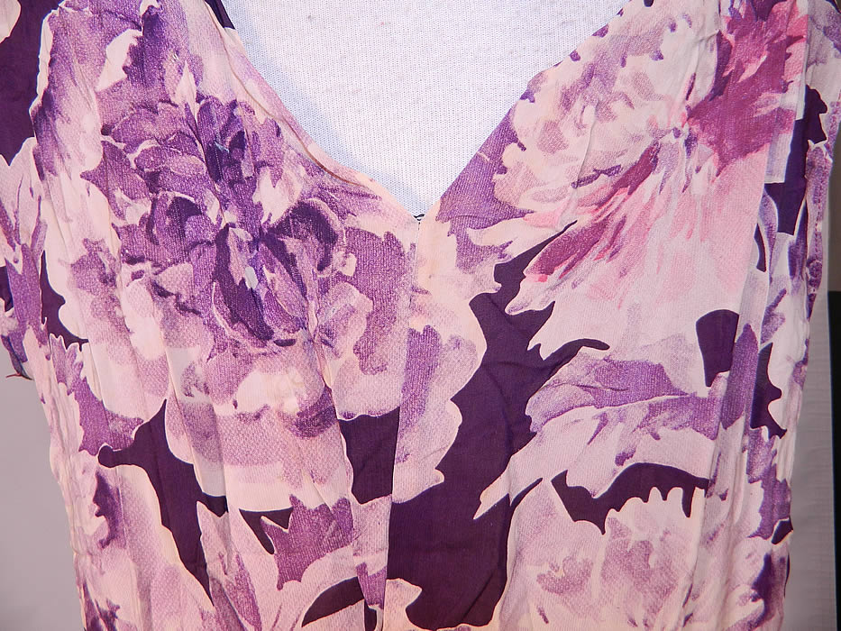 Vintage Purple Peony Print Floral Silk Bias Cut Slip Dress