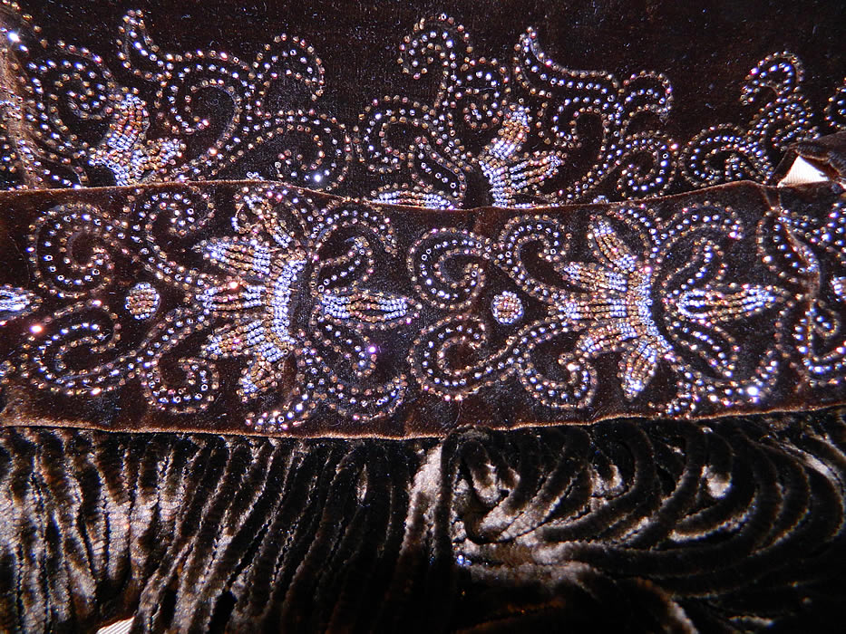 Victorian Brown Silk Velvet Bronze Beaded Bodice & Skirt Fabric Remnant Trim