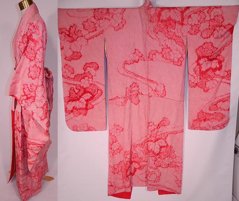 Vintage Japanese Geisha Red White Pink Silk Shibori Tie-Dye Obi Sash Belted Kimono