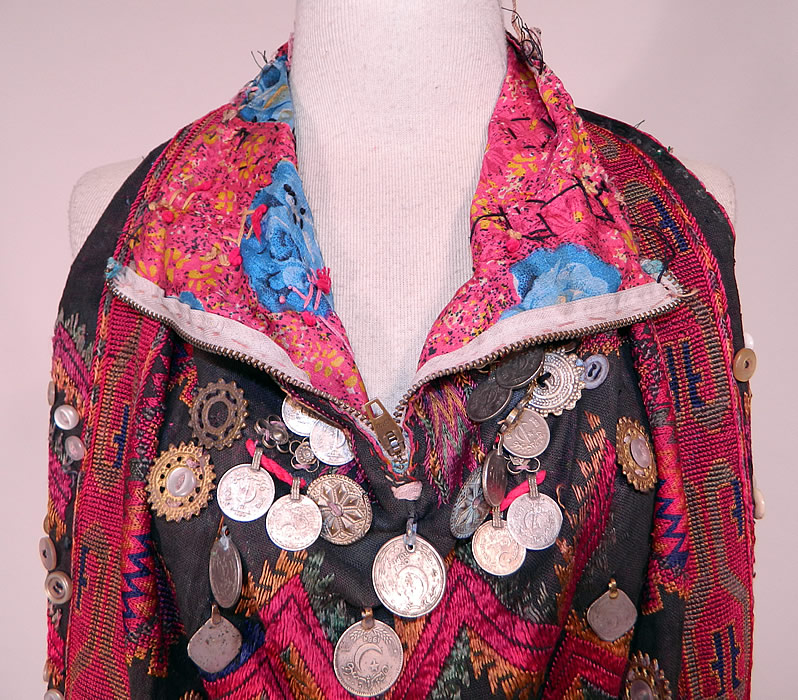 Swat Valley Pakistan Coin Beaded Embroidered Ethnic Tribal Bib Front Fabric Top