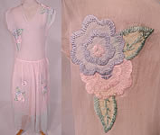 Vintage Pastel Pink & Blue Organdy Floral Embroidered Applique Sheer Party Dress