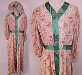 Edwardian Art Nouveau Japanese Floral Fan Print Dressing Gown Robe & Bed Cap Bonnet