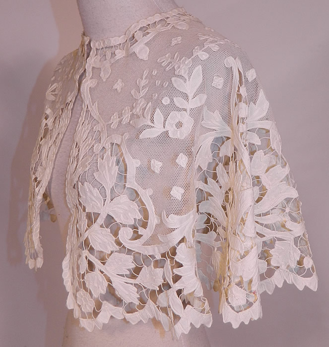 Victorian Antique Applique Cream Net Battenburg Tape Lace Pelerine Shawl Collar Cape