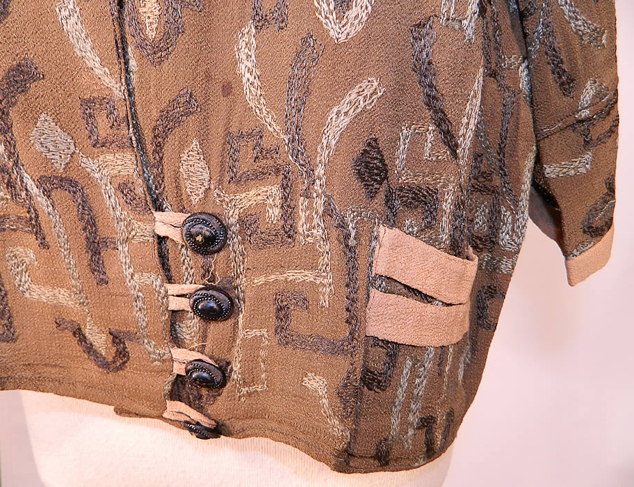 Vintage Art Deco Brown Silk Crepe Embroidered Flapper Blouse Coat Jacket