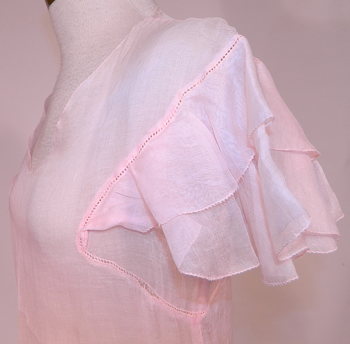 Vintage Pink Pastel Pink Organdy White Embroidered Star Applique Party Dress