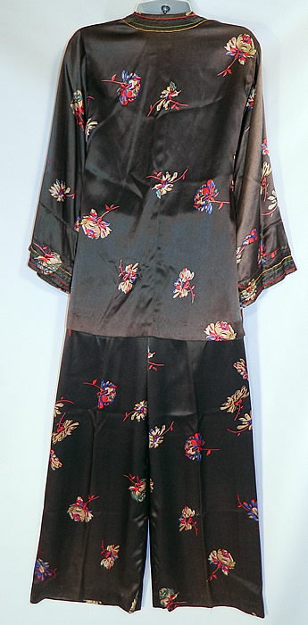 Vintage Black Silk Satin Flower Print Pajamas Robe Jacket Pants Lounge Set