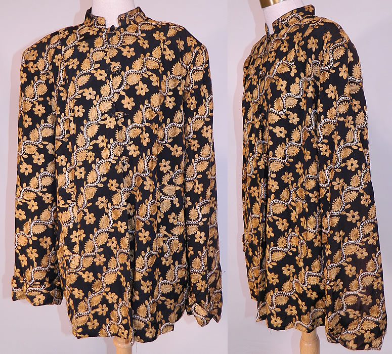 Vintage Black Silk Rayon Chain Stitch Crewel Work Embroidery Swing Coat Jacket.