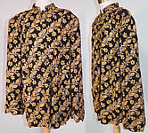 1940s Vintage Black Silk Rayon Chain Stitch Crewel Work Embroidery Swing Coat Jacket