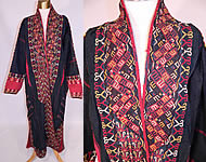 Antique Turkmenistan Indigo Dyed Embroidered Turkmen Chyrpy Coat Tribal Robe