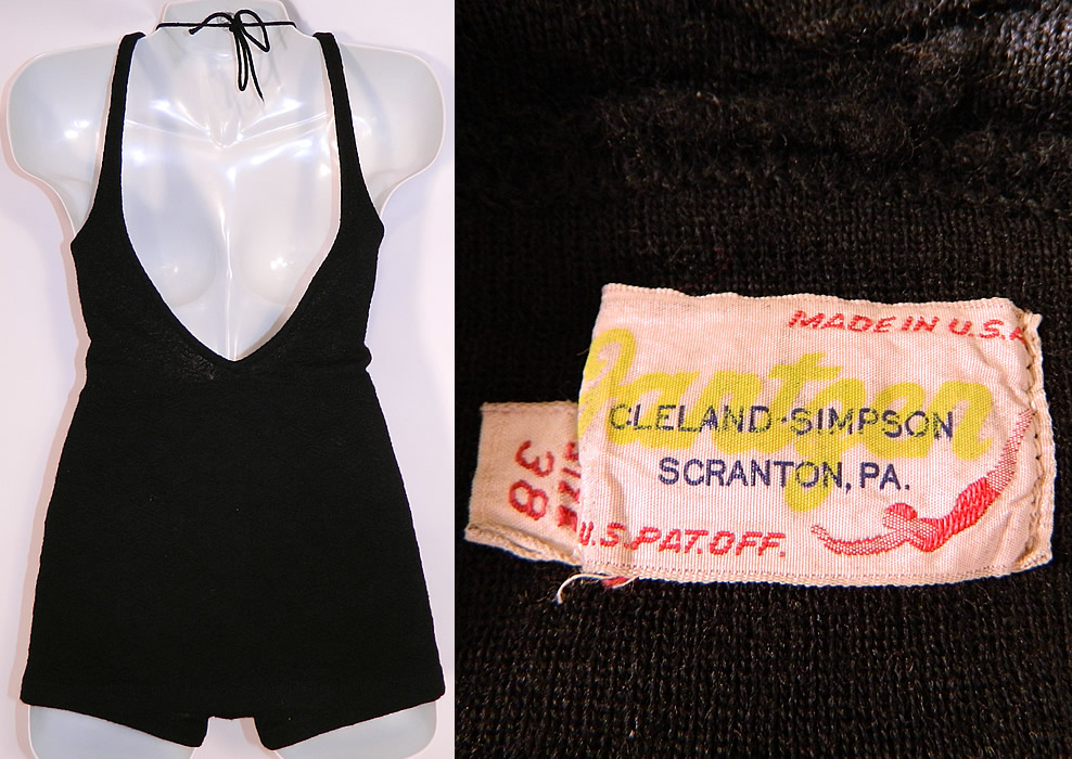 Vintage Jantzen Women's Black Wool Knit Onepiece Swimsuit Size 38
