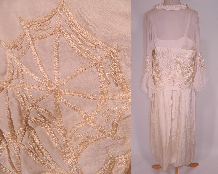 Edwardian Cream Silk Spider Cob Web Soutache Embroidered