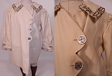 Edwardian White Wool Silver Soutache Braided Trim Childs Winter Coat