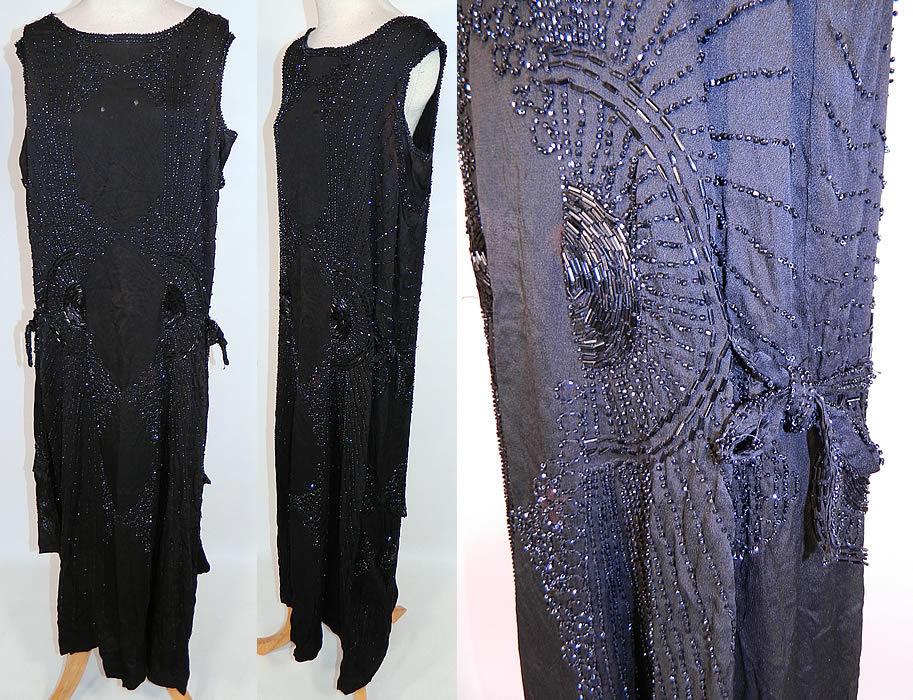 Vintage Art Deco Black Silk Jet Beaded Flapper Drop Waist Side Tie Dress Evening Gown