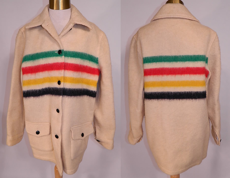 Vintage Hudsons Bay Point Wool 4 Stripe Blanket Coat Womens Jacket