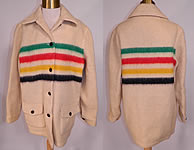 1950s Vintage Hudsons Bay Point Wool 4 Stripe Blanket Coat Womens Jacket