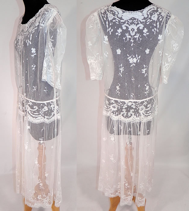 Vintage White Tambour Embroidery Lace Sheer Silk Tulle Net Drop Waist Dress
