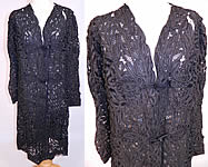 Edwardian La Samaritaine Brussels Black Silk Battenburg Tape Lace Long Coat Jacket