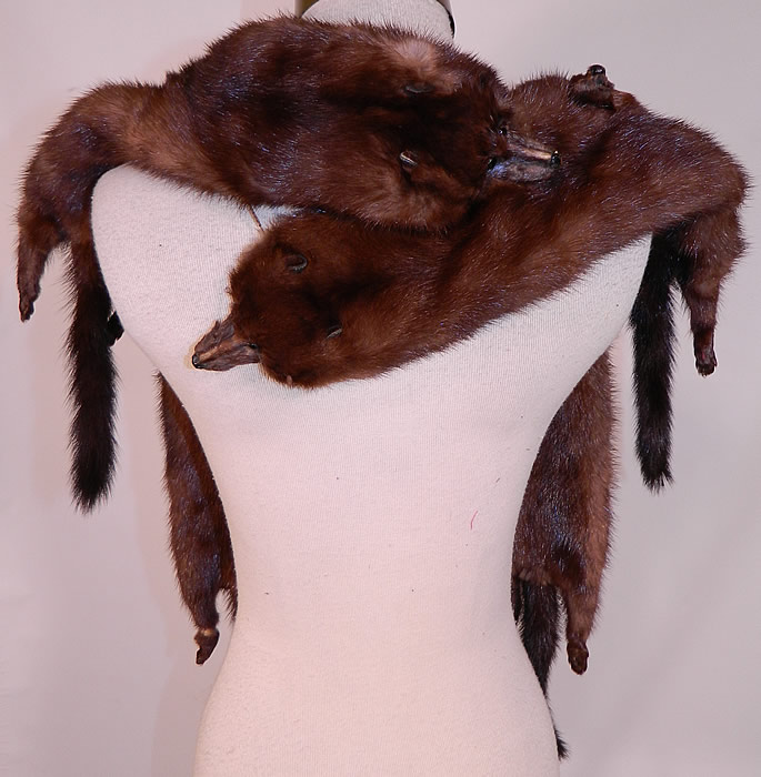 Vintage Mahogany Brown Stone Marten Mink Fur Stole Shawl Wrap Boa Cape