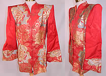 1940s Vintage Japanese Kimono Obi Red Silk Gold Lamé Lame Broad Shoulder Jacket